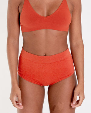 ENDIJA Organic Cotton High Waisted Knickers In Madder