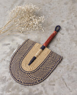 EUNICE Straw Hand Fan With Leather Handle