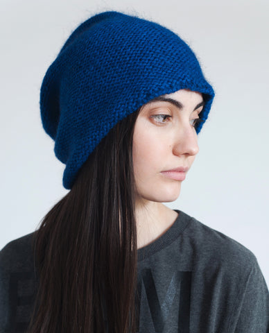 ELIZA Slouchy Mohair Beanie Hat In Cobalt