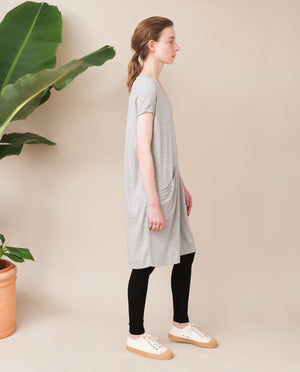 ELIZABETH Lyocell And Cotton Dress In Light Grey