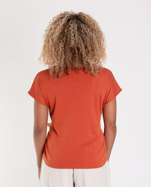 EMILIE Lyocell And Cotton Top In Madder