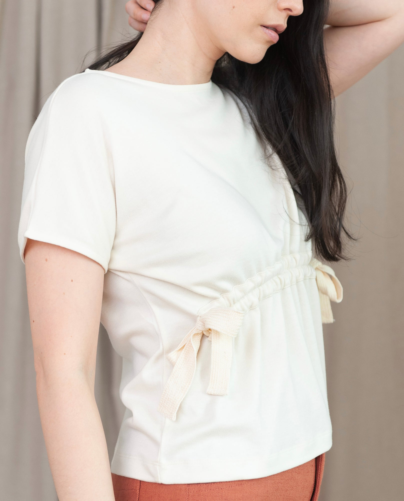 EMILIE Lyocell And Cotton Top In Ecru
