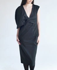 ERIKA Cotton One Shoulder Dress In Black