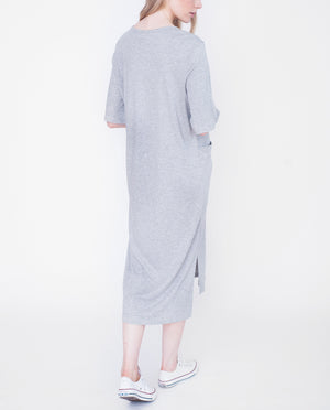 ERIN Lyocell And Cotton Dress In Light Grey