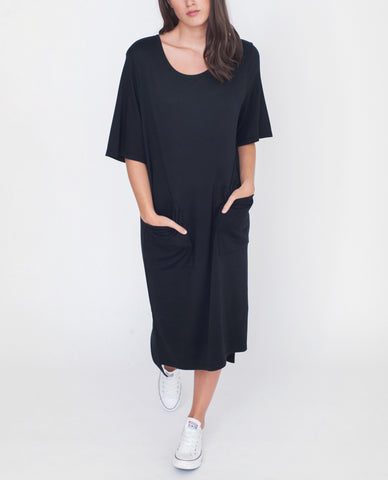 ERIN Lyocell And Cotton Dress In Black