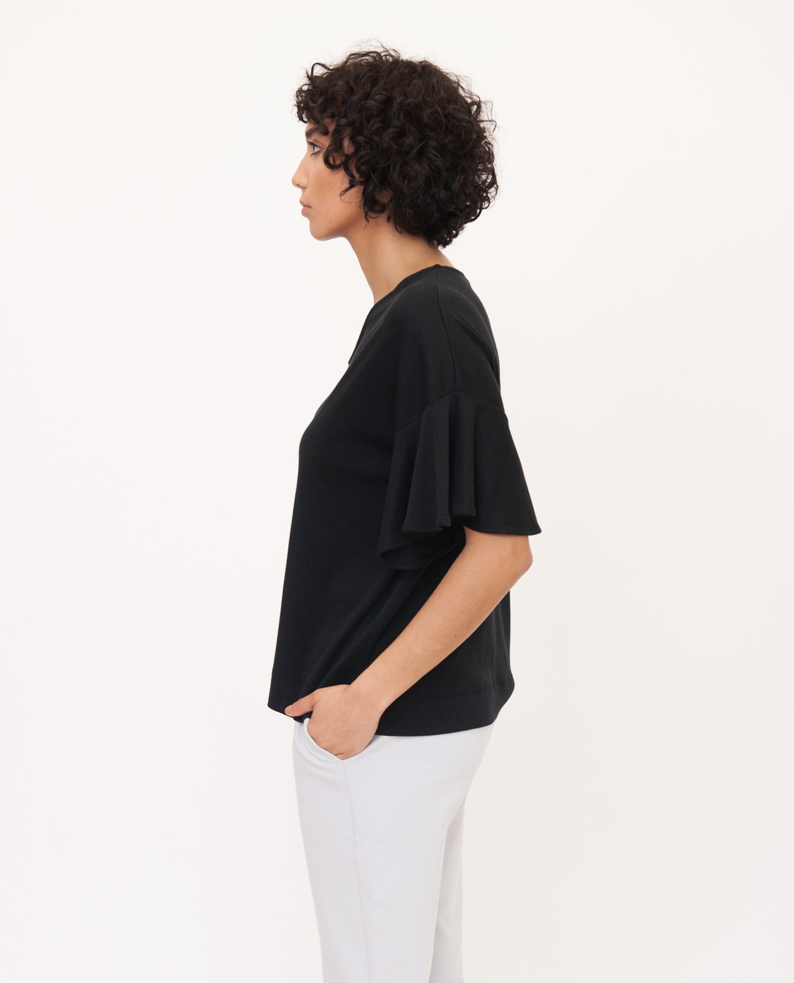 ESTER Lyocell Jersey Top In Black