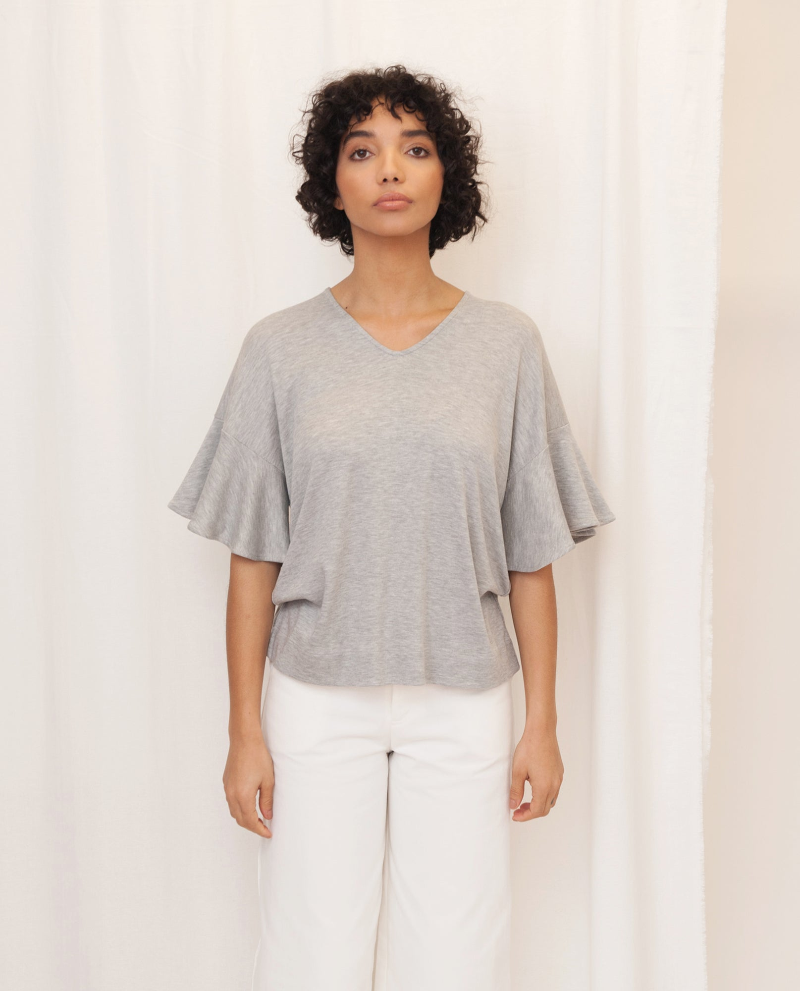 ESTER Lyocell Jersey Top In Grey Marl from Beaumont Organic