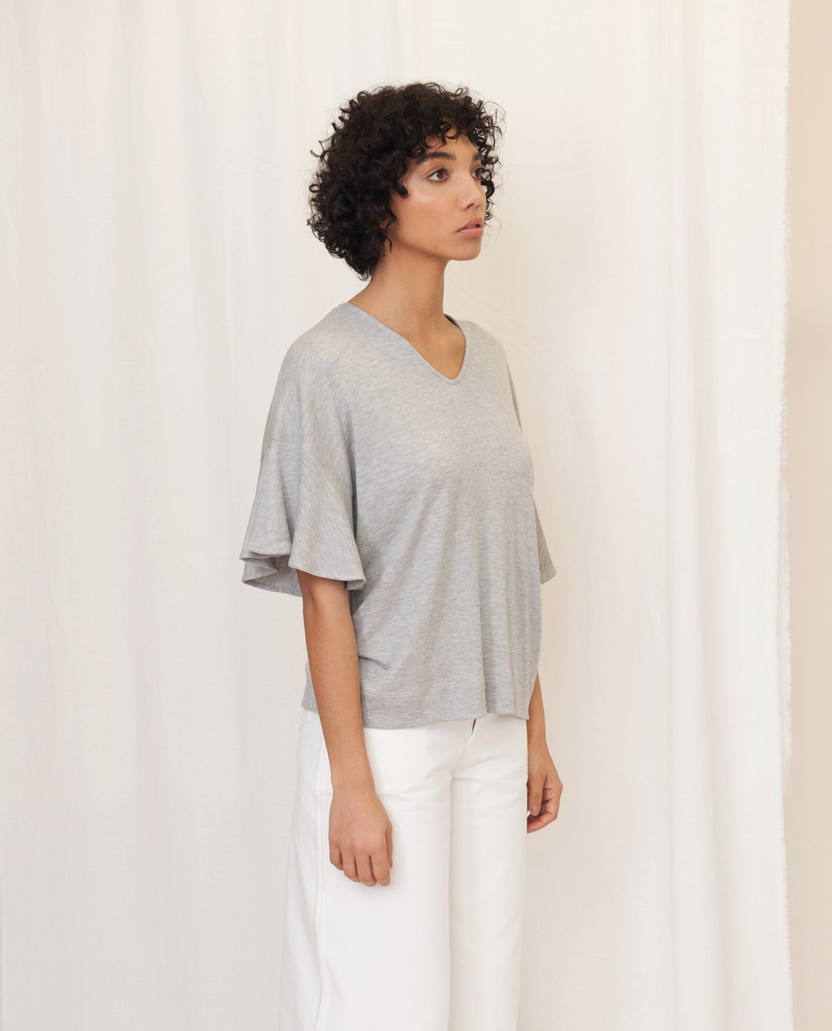 ESTER Lyocell Jersey Top In Grey Marl