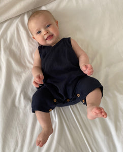 Evan Organic Cotton Romper In Deep Indigo