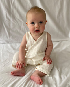 Evan Organic Cotton Romper In Off White