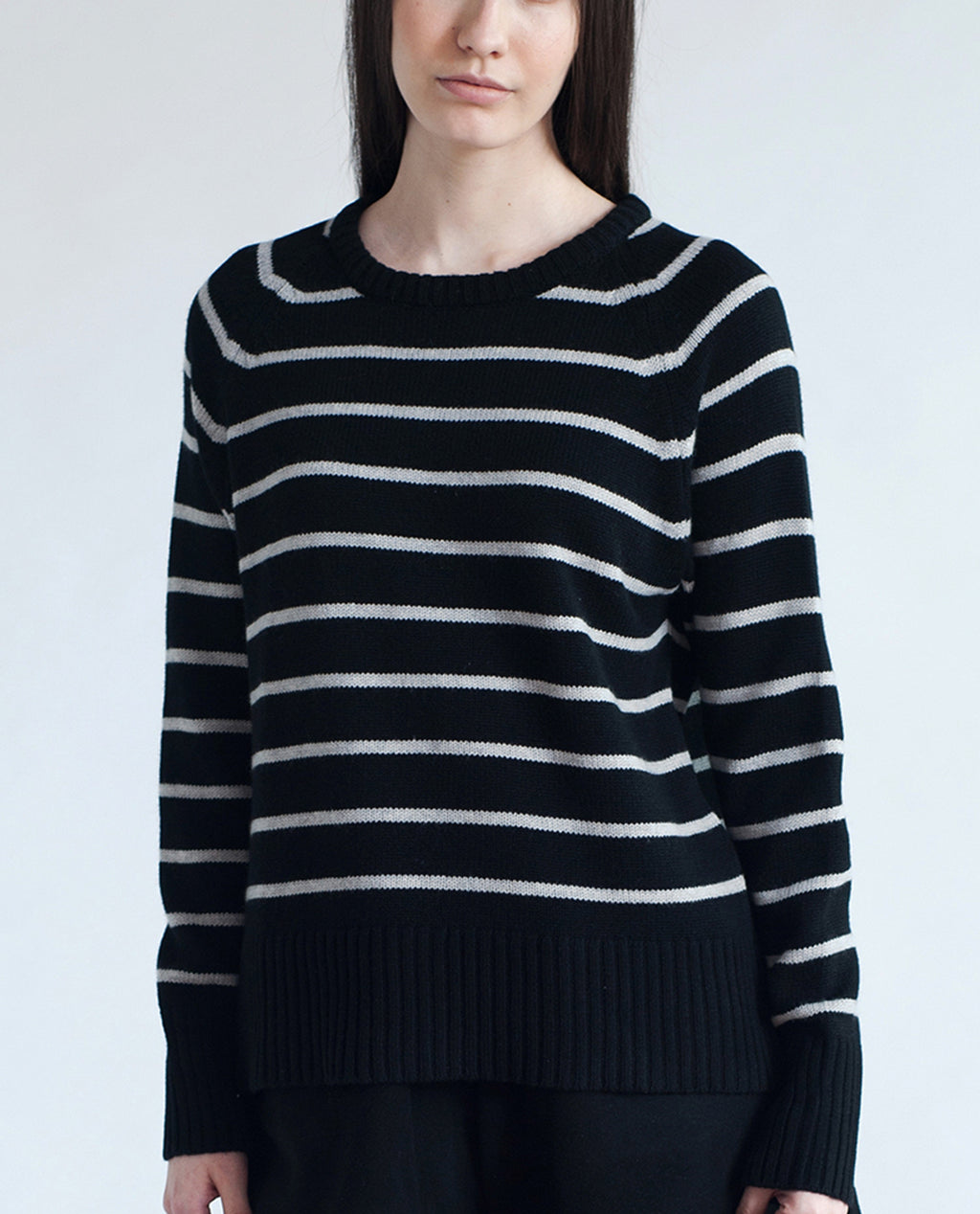 EVIE Wool And Cashmere Jumper In Black & White Stripe