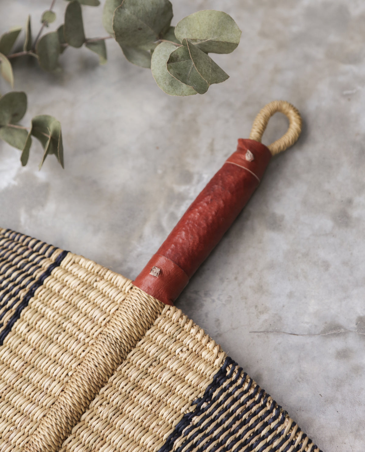 FARIDA Straw Hand Fan With Leather Handle