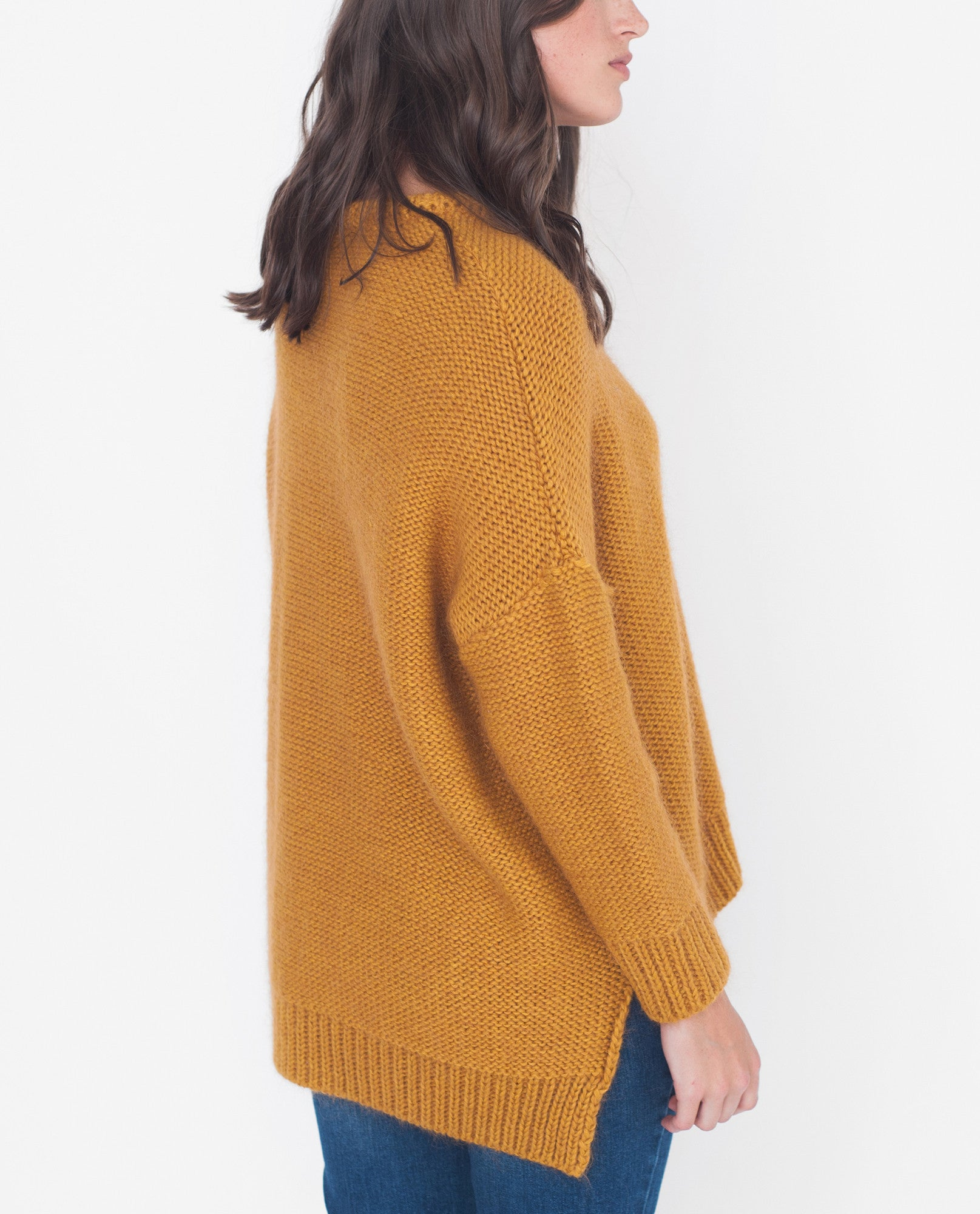 FAYE-MARIE Mohair Knitted Jumper In Yellow