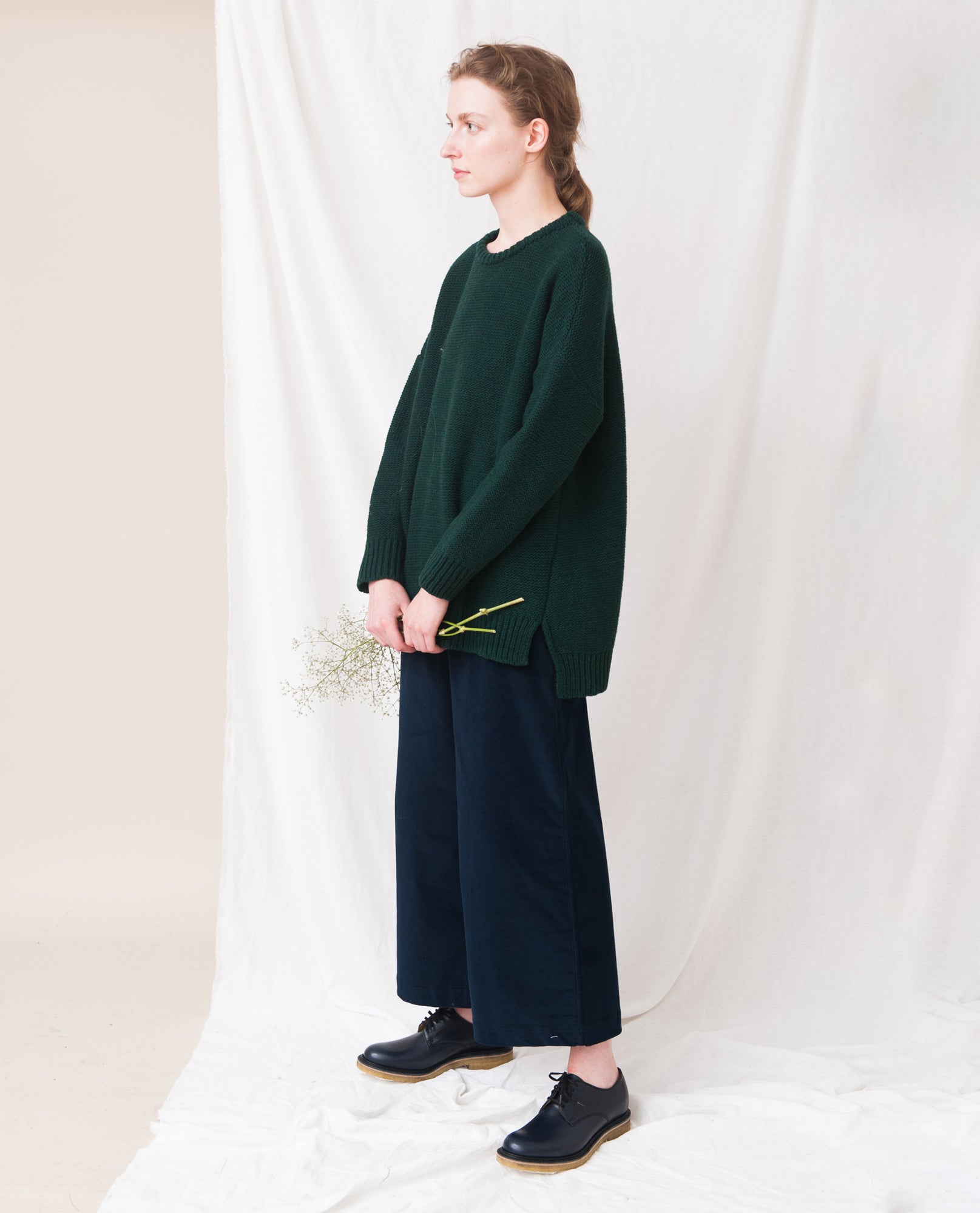 FAYE-MARIE Wool Knitted Jumper In Evergreen