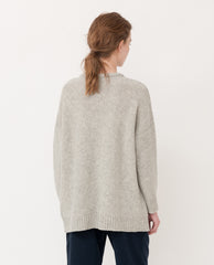 FAYE-MARIE Wool Knitted Jumper In Light Grey