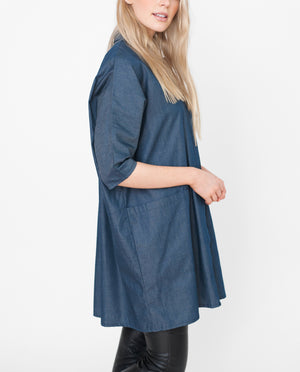 FELICITY Cotton Denim Shirt In Navy