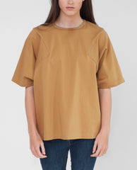 FLEUR Cotton Canvas Oversized Top In Gold