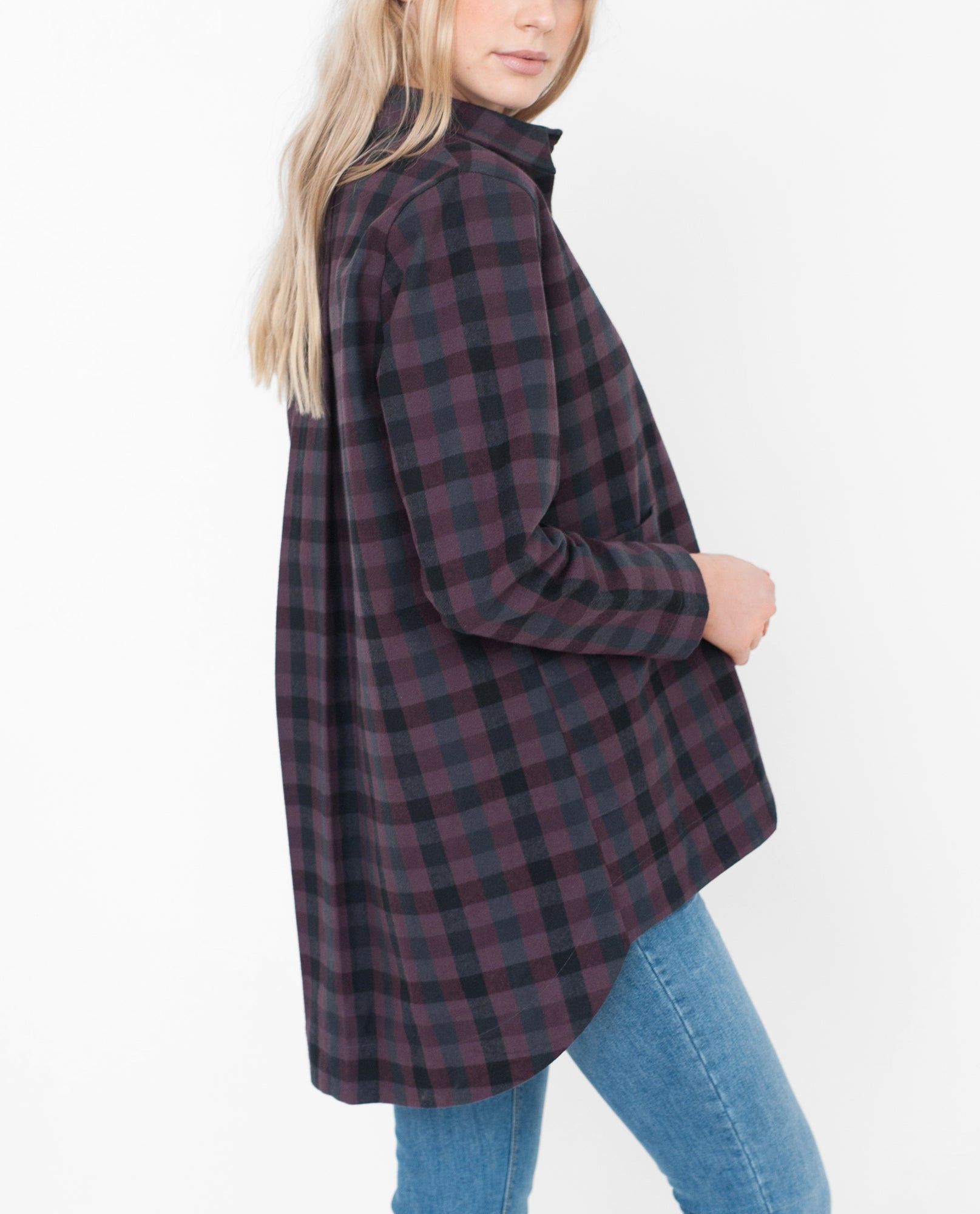 FRAN Checked Cotton Jacket In Bordeaux And Black