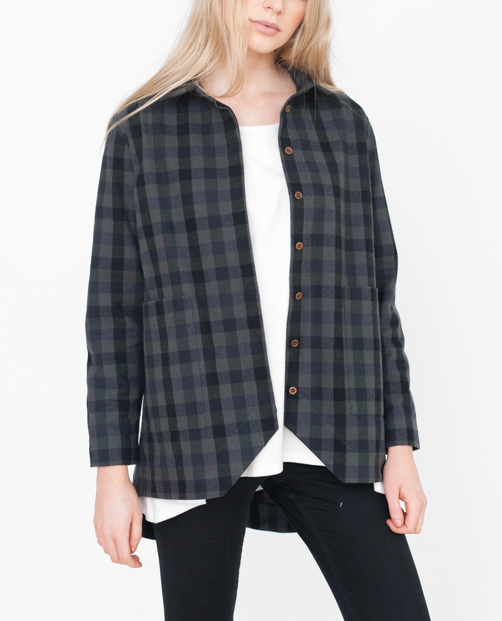 FRAN Checked Cotton Jacket In Khaki And Black from Beaumont Organic