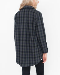 FRAN Checked Cotton Jacket In Khaki And Black