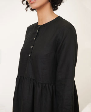 FREYA Linen Dress In Black