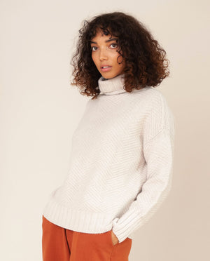 GLADYS Superfine Lambswool Jumper In Swansdown