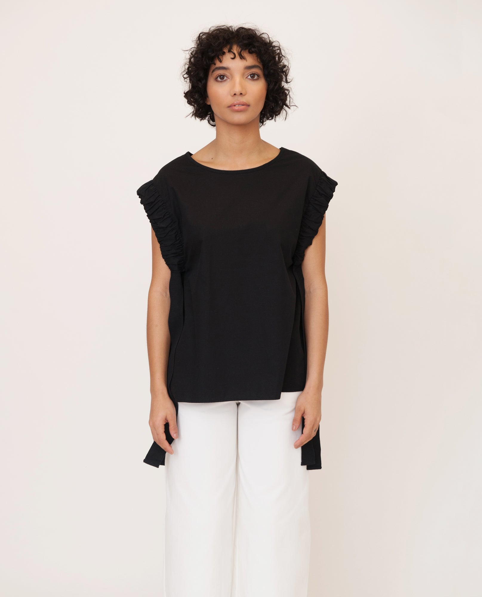 GAIA Cotton Poplin Top In Black