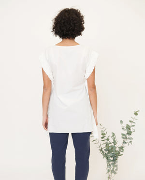 GAIA Cotton Poplin Top In White