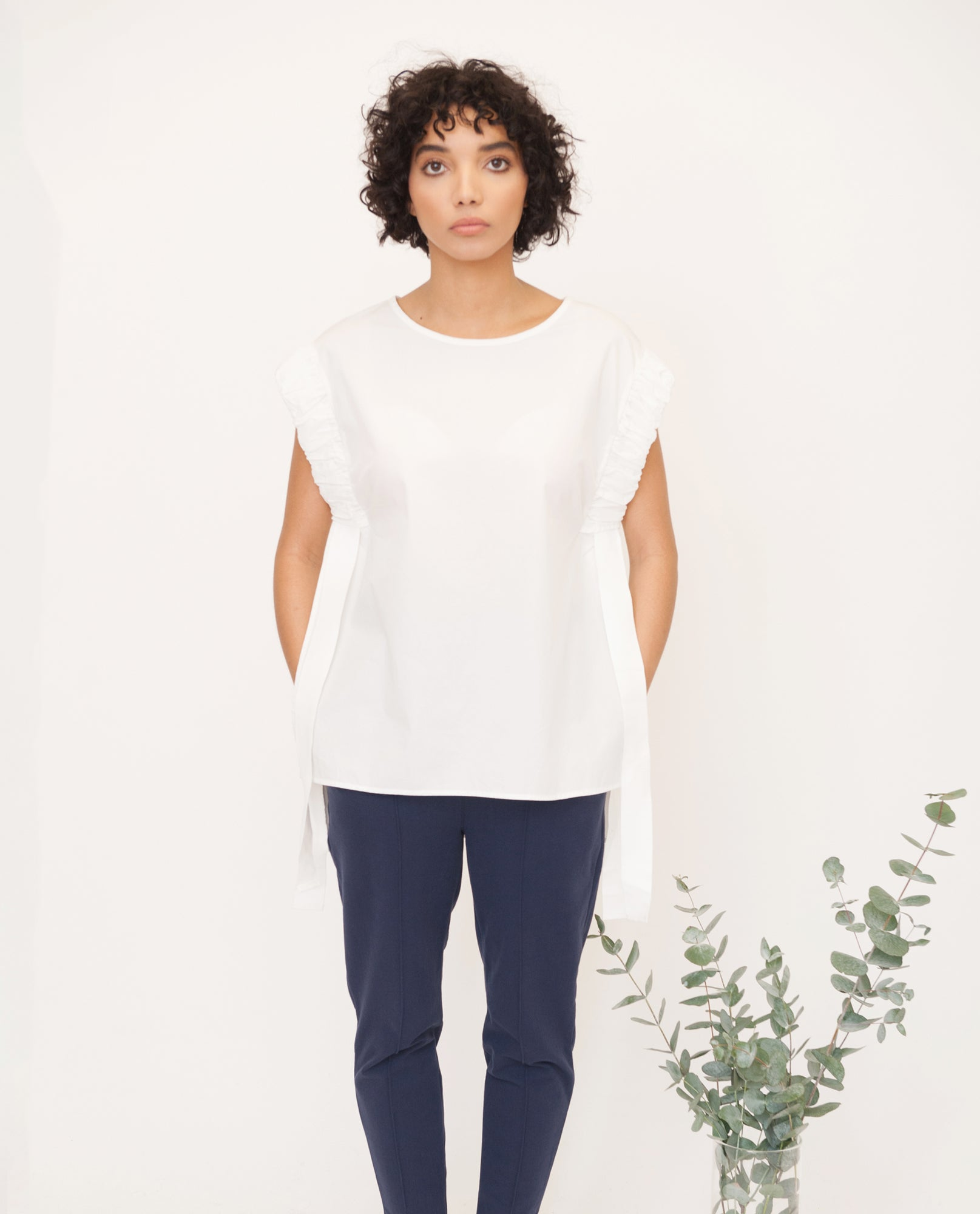 GAIA Cotton Poplin Top In White from Beaumont Organic