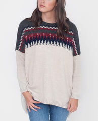 GIGI Mohair Knitted Patterned Jumper