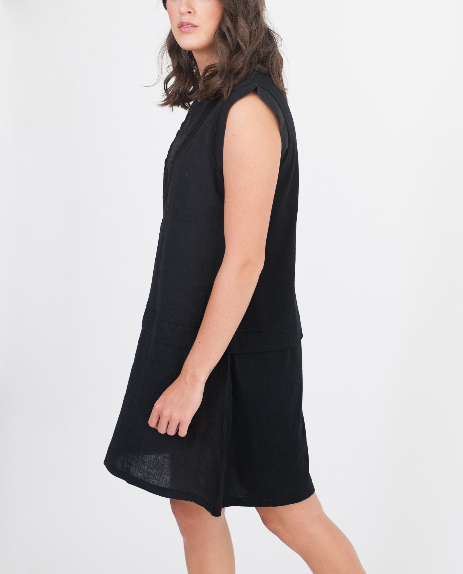 HADLEY Organic Cotton And Linen Dress In Black