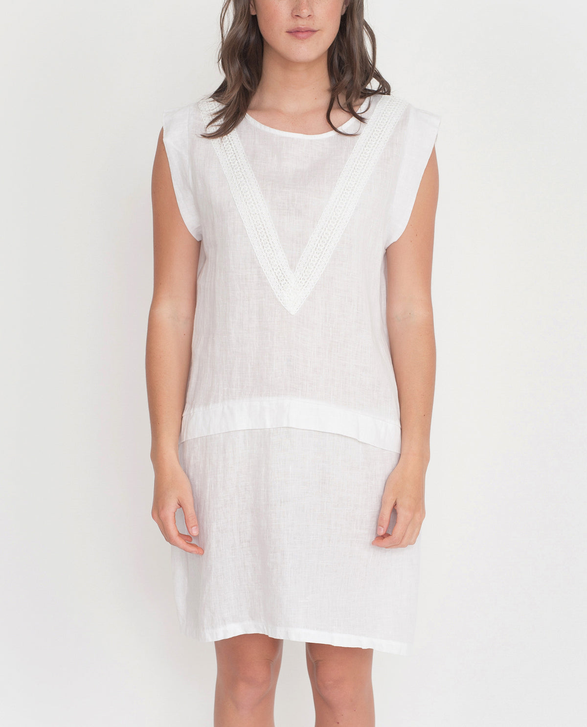 HADLEY Organic Cotton And Linen Dress In White