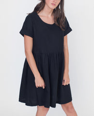 HARPER Linen And Cotton Dress In Black