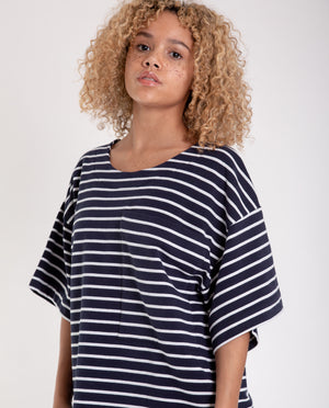 HARRIET Organic Cotton Top In Navy And White