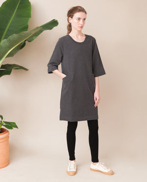 HAVEN Organic Cotton Dress In Dark Grey