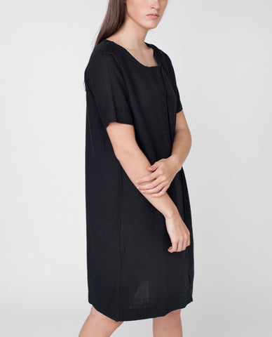 HELEN Linen Placket Dress In Black