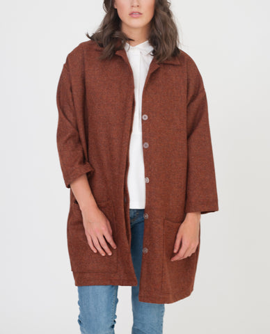 HETTY Wool Coat In Burnt Orange