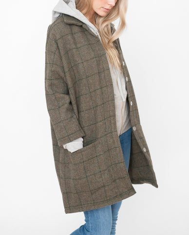 HETTY Wool Coat In Green