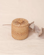 INDAH Light Brown Rattan Mini Lidded Pot