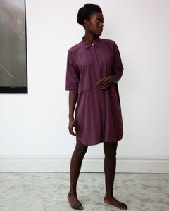 Sylvie Organic Cotton Dress In Plum