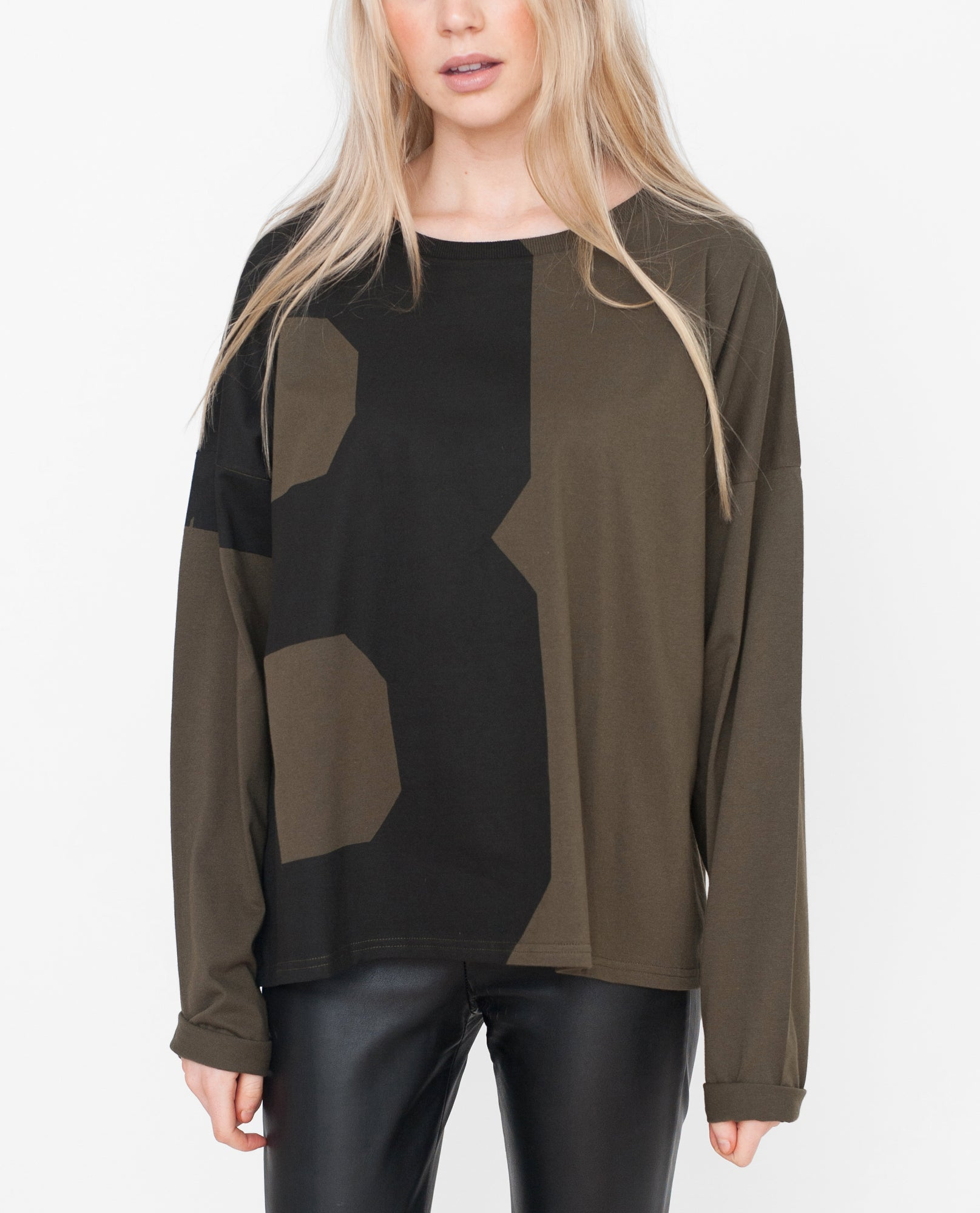 IVANNA Organic Cotton Top In Khaki And Black from Beaumont Organic