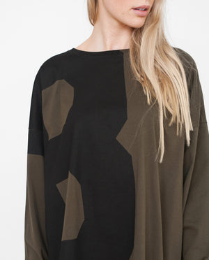 IVANNA Organic Cotton Top In Khaki And Black