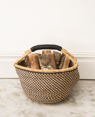 JOELLE Round Straw Basket With Leather Detail Handles