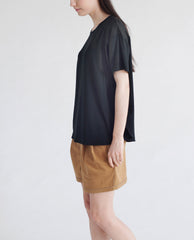 JACINTA Bamboo And Linen Top In Black