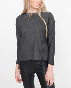 JAELYN Organic Cotton Top In Washed Black