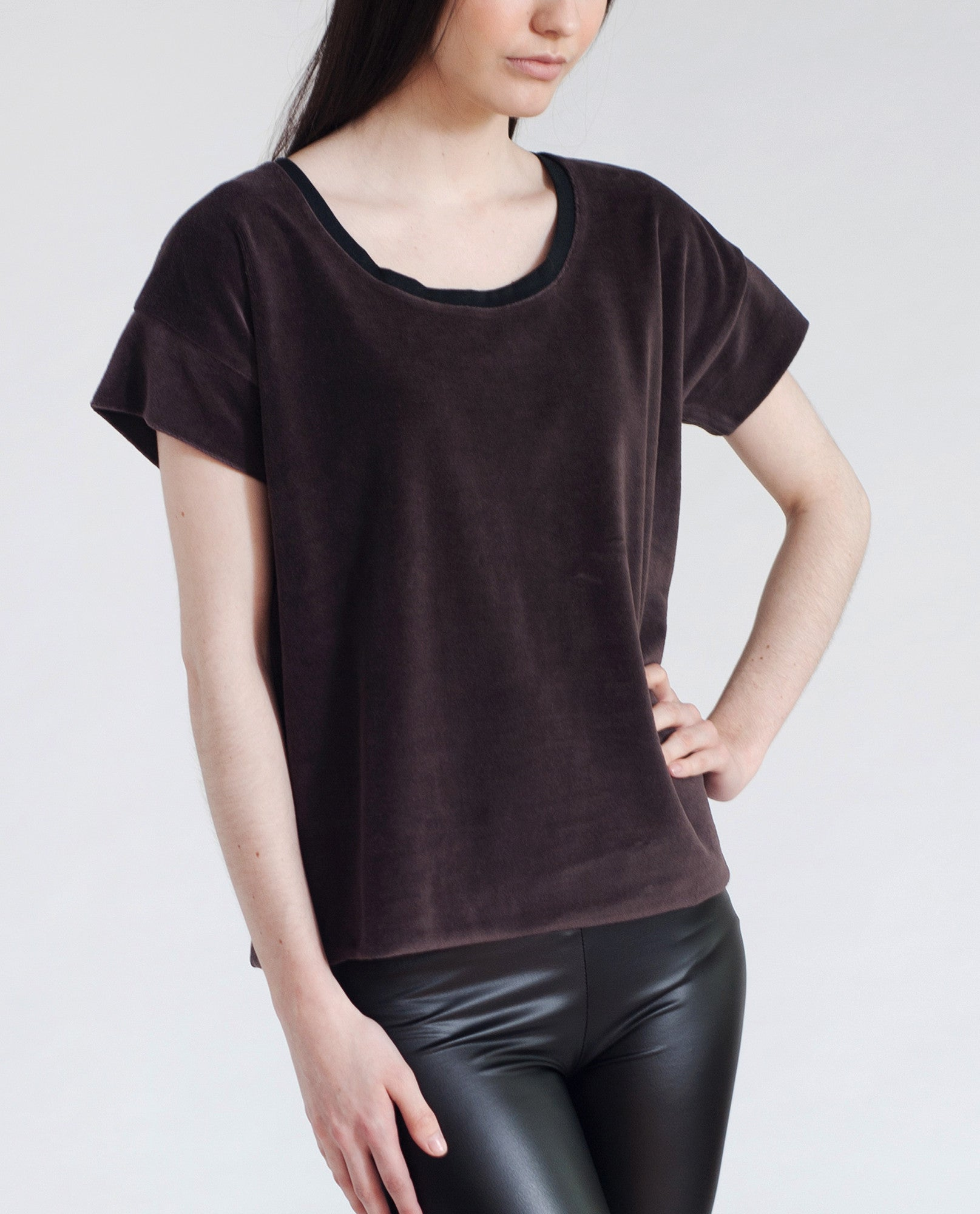 JAQUELINE Cotton Velvet Top In Brown