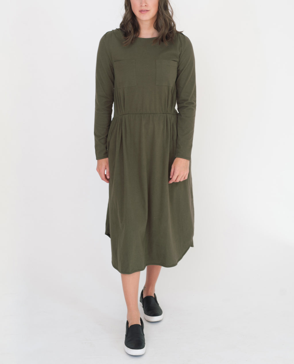 JENNA Organic Cotton Dress In Khaki