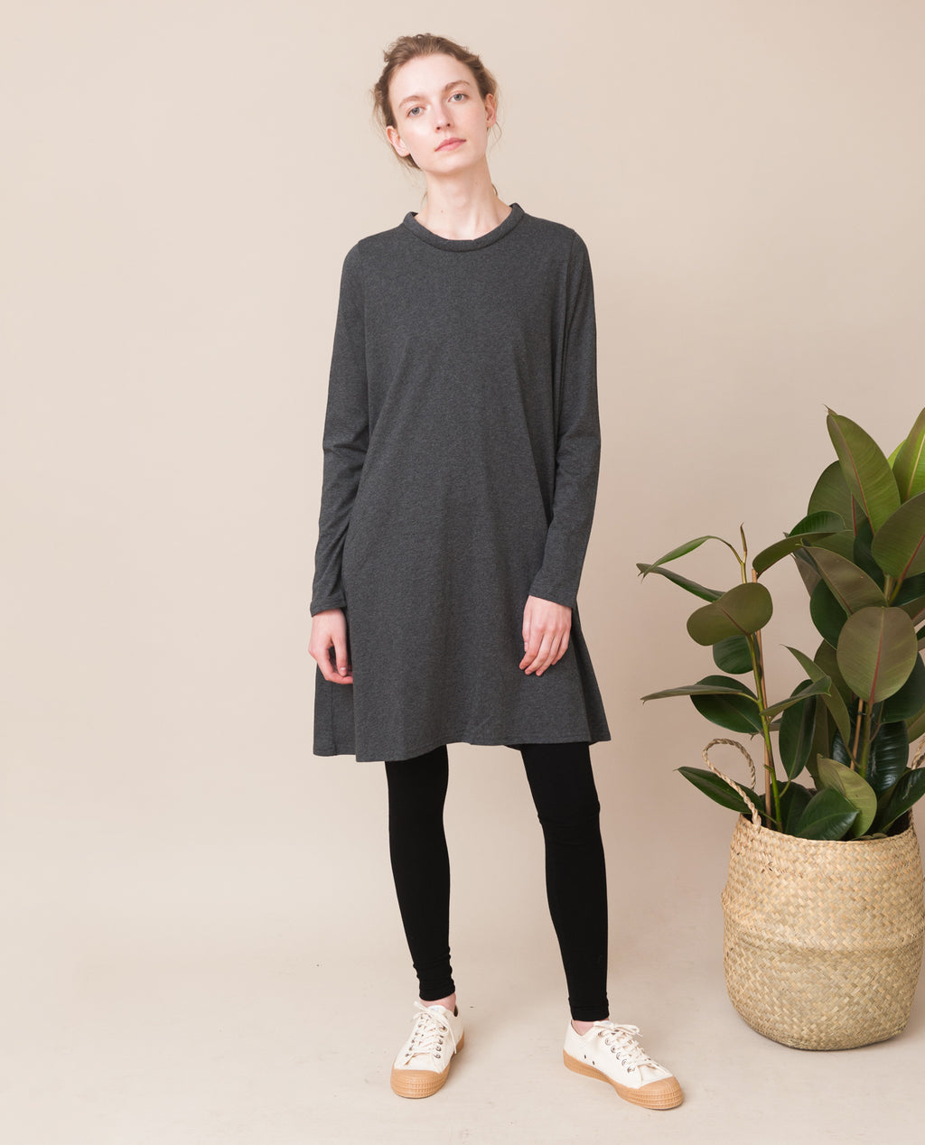 JESSA Organic Cotton Dress In Dark Grey