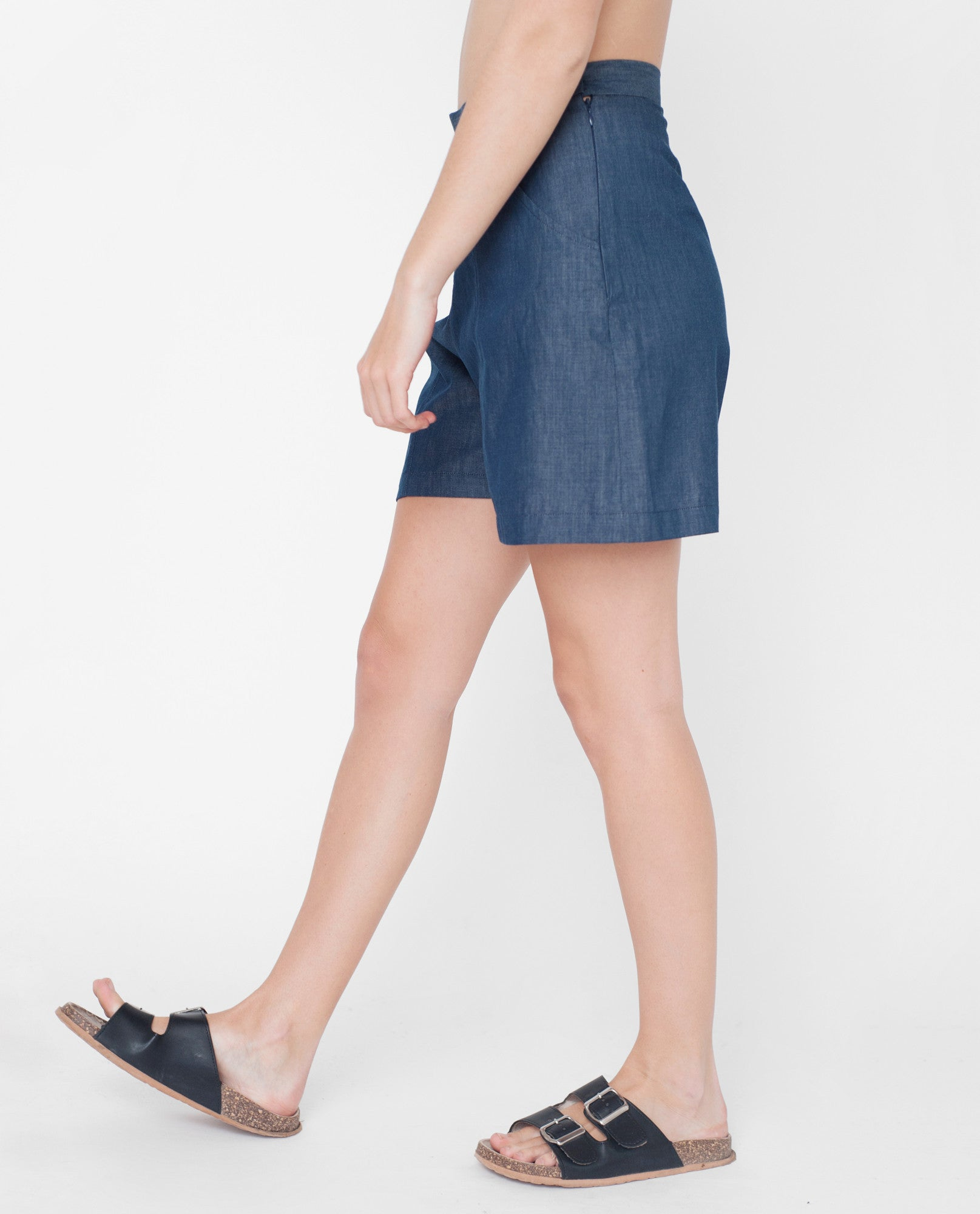 JOLIE Cotton Chambray Shorts In Navy