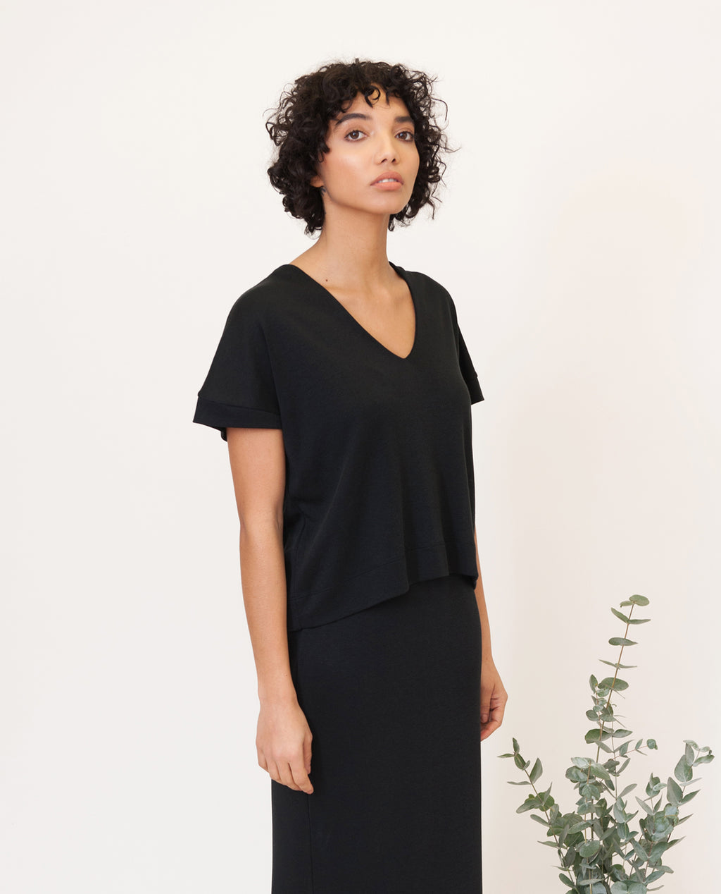 JOYCE Lyocell Jersey Top In Black